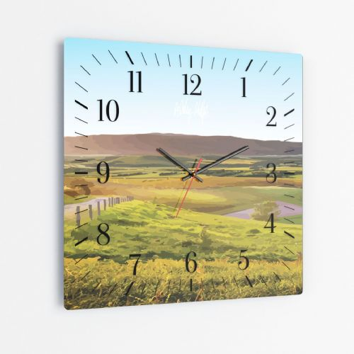Rolling Hills Blue - Square Glass Clock